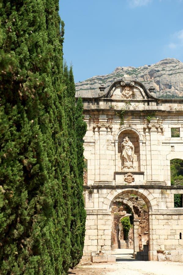 Ruïnes van het Kartuizer klooster van Scala Dei, Spanje royalty-vrije stock afbeelding