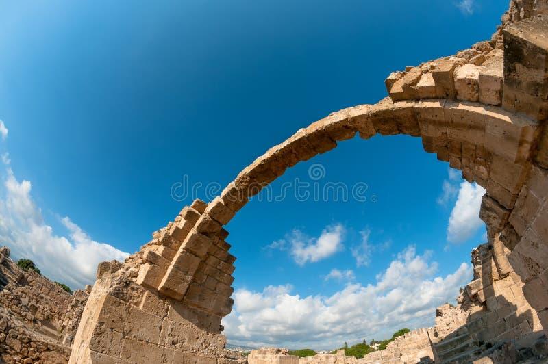 Ruïnes van het kasteel van Saranta Kolones Paphos, Cyprus royalty-vrije stock foto's