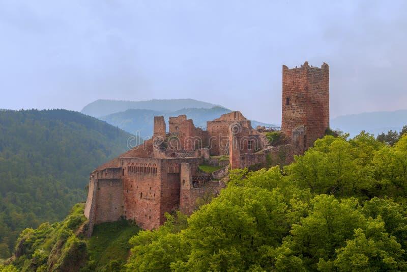 Ruïnes van het middeleeuwse kasteel heilige-Ulrich, Ribeauville, de Elzas, Frankrijk royalty-vrije stock foto's