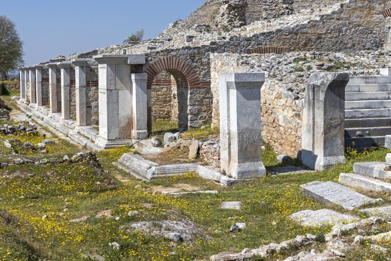 Ruïnes van het oude theater op het Antieke gebied van Philippi, Oostelijk Macedonië en Thrace, Griekenland royalty-vrije stock afbeeldingen