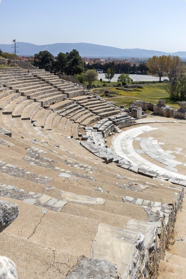 Ruïnes van het oude theater op het Antieke gebied van Philippi, Oostelijk Macedonië en Thrace, Griekenland royalty-vrije stock foto's