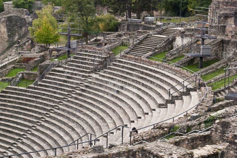 Ruïnes van het Roman theater in Lyon, Frankrijk royalty-vrije stock fotografie