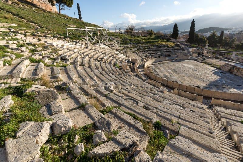Ruïnes van het Theater van Dionysus in Akropolis van Athene, Griekenland stock foto