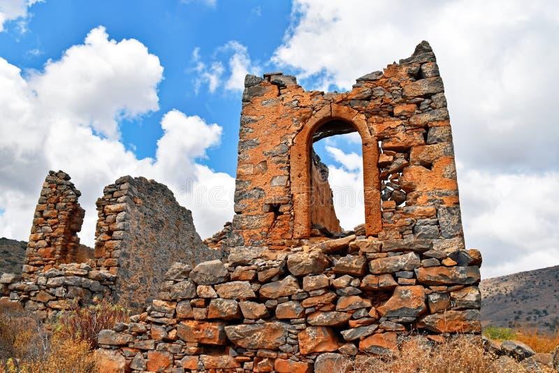 Ruïnes van historische windmolens op het Eiland Kreta Griekenland royalty-vrije stock foto