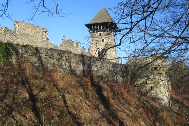 Ruïnes van Kasteel Nevytske dichtbij van centrum het Over de Karpaten Uzhgorod van het gebied stock afbeelding