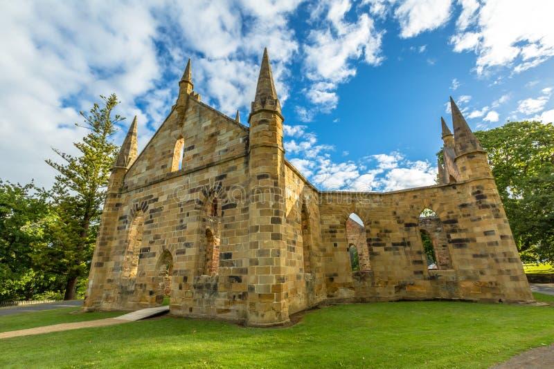 Ruïnes van Kerk in Haven Arthur Historic Site stock afbeelding
