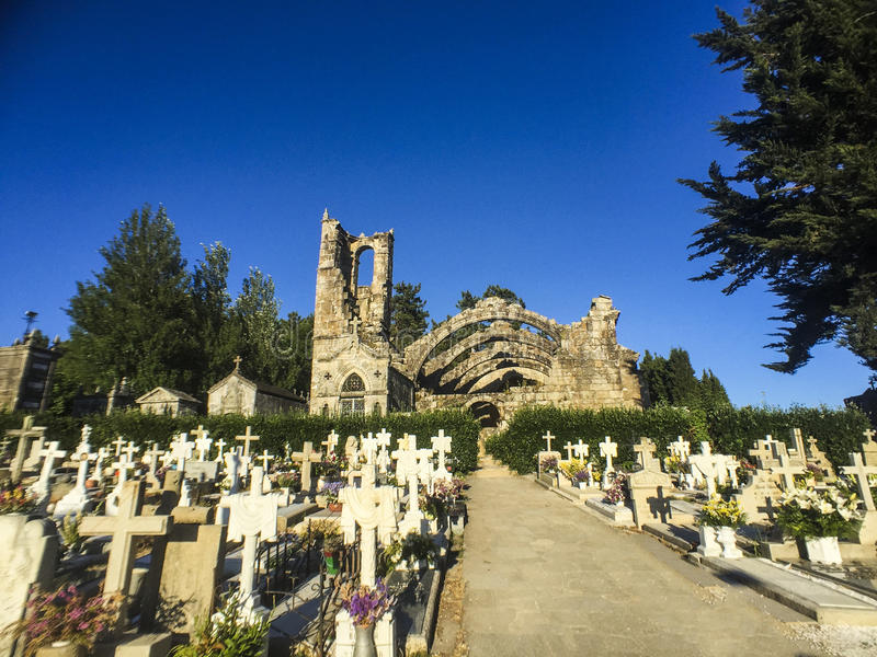 Ruïnes van Kerstman Mariña Dozo in Cambados, Spanje stock foto's