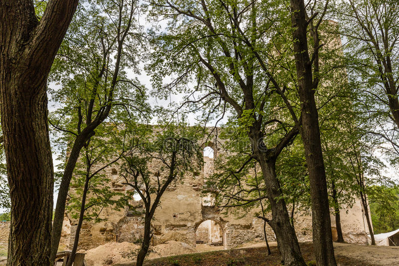 Ruïnes van Klooster Katarinka boven het dorp van Dechtice, Slov stock foto's