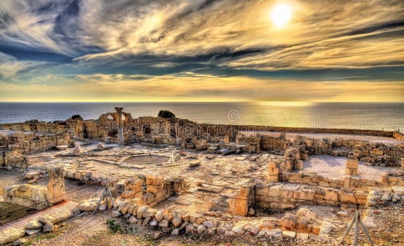 Ruïnes van Kourion, een oude stad in Cyprus stock afbeelding