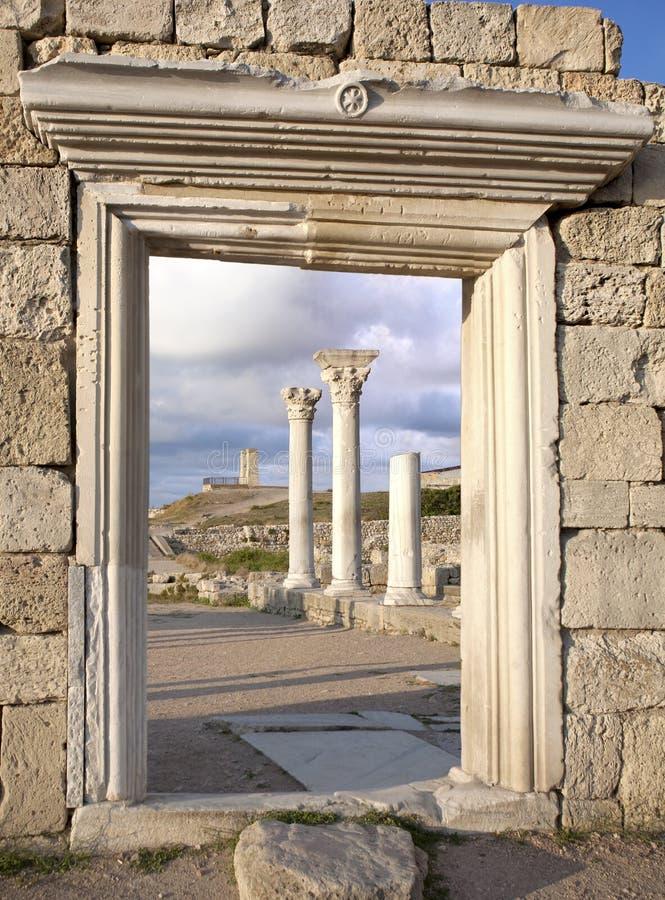 Ruïnes van Oude Griekse Khersones in de Krim stock afbeelding