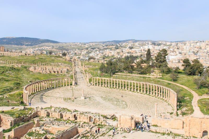 Ruïnes van oude Jerash, de Grieks-Romeinse stad van Gerasa in modern Jordanië royalty-vrije stock fotografie