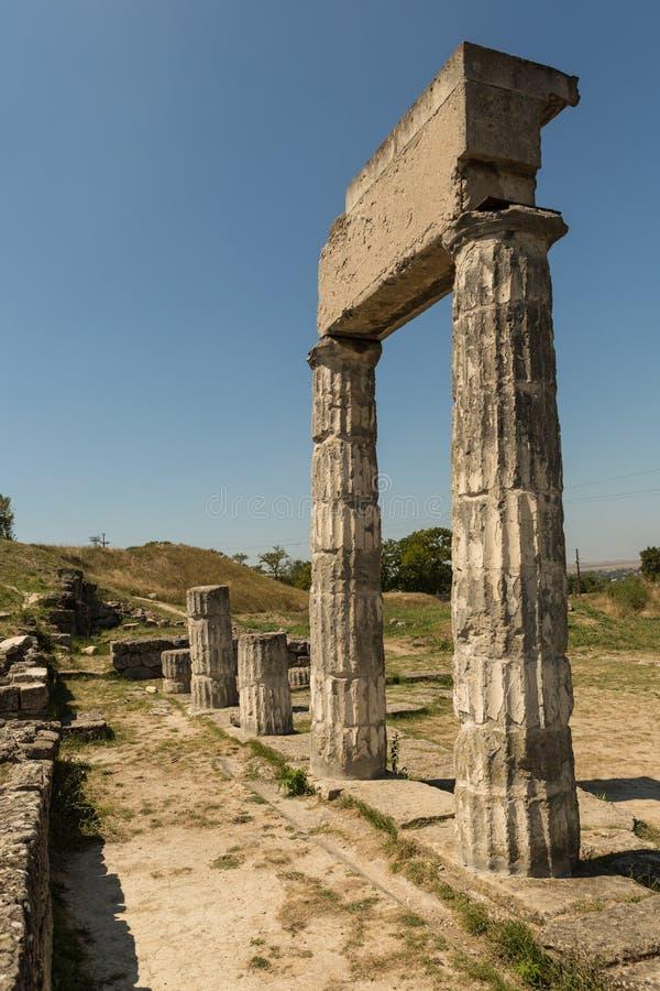 Ruïnes van oude Panticapaeum in Kerch, de Krim op onderstel Mithridates royalty-vrije stock fotografie