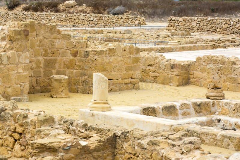 Ruïnes van oude Paphos stock afbeeldingen