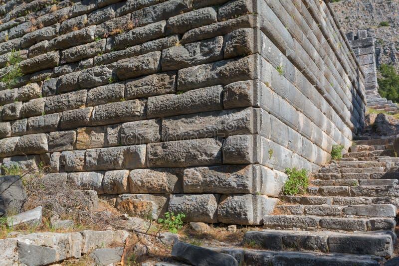Ruïnes van oude Priene stock afbeeldingen