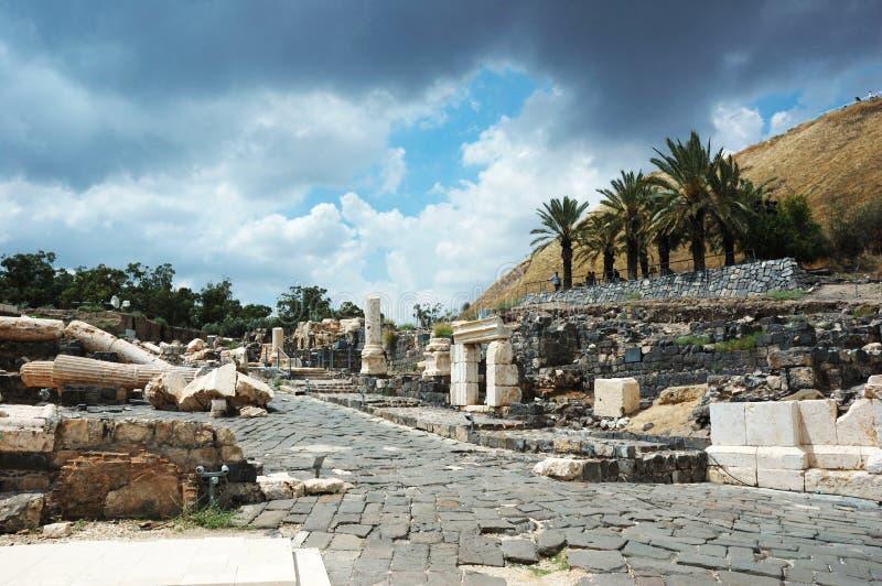 Ruïnes van oude stad Beit Shean, Israël stock foto