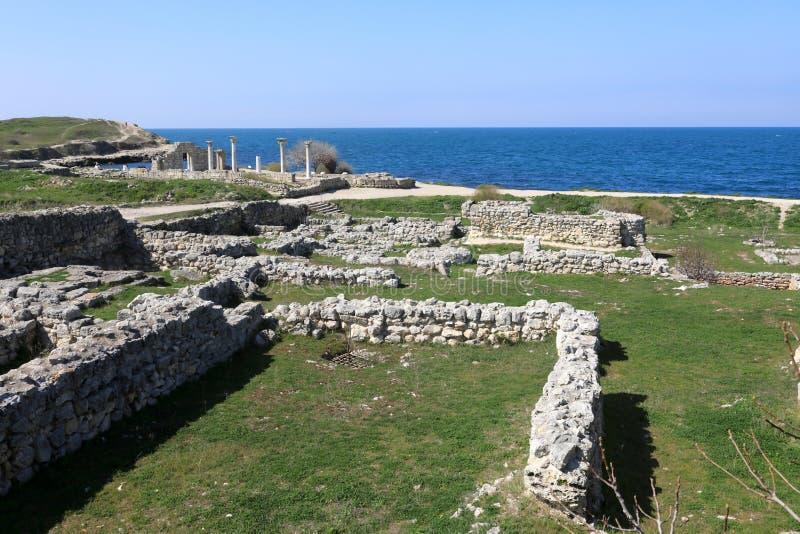 Ruïnes van oude stad van Chersonesos stock foto's