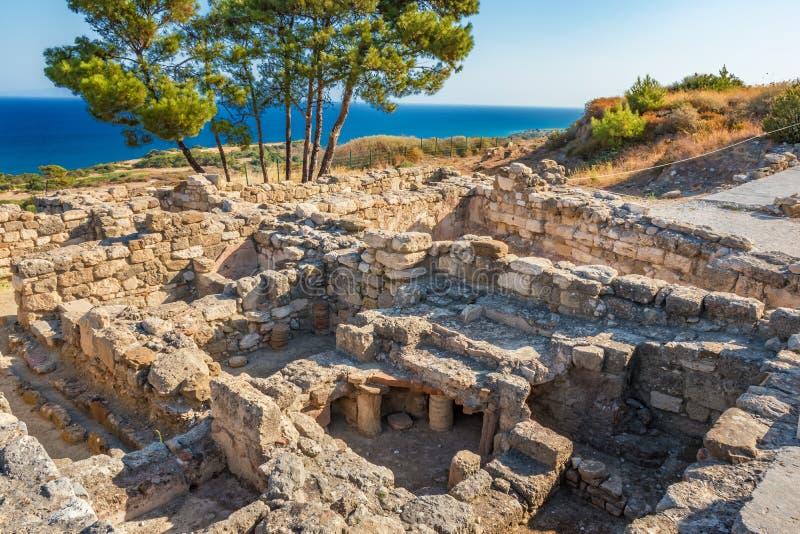 Ruïnes van oude stad van Kamiros-Eiland Rhodos, Griekenland stock afbeelding