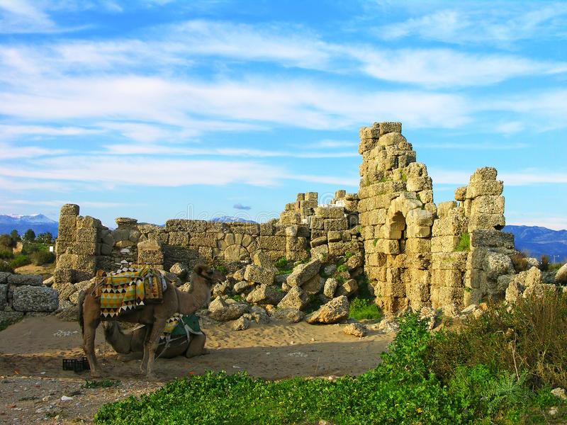 Ruïnes van oude stad, Kant royalty-vrije stock foto's