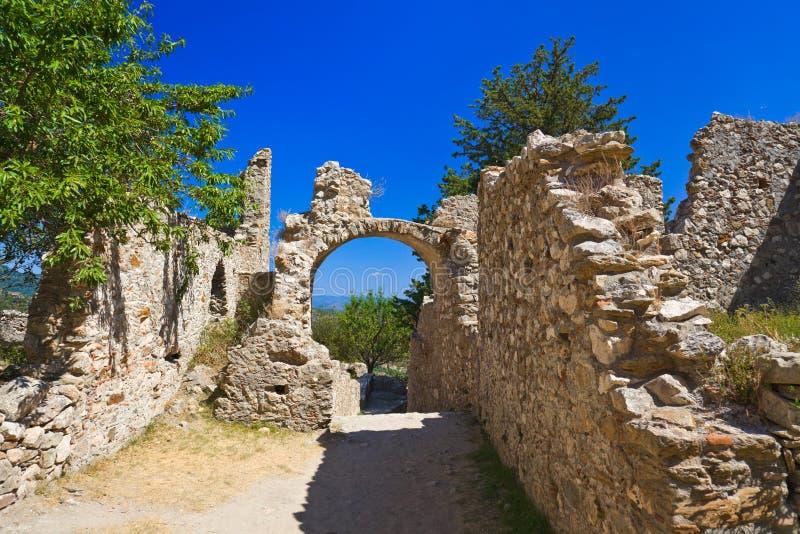 Ruïnes van oude stad in Mystras, Griekenland royalty-vrije stock foto's