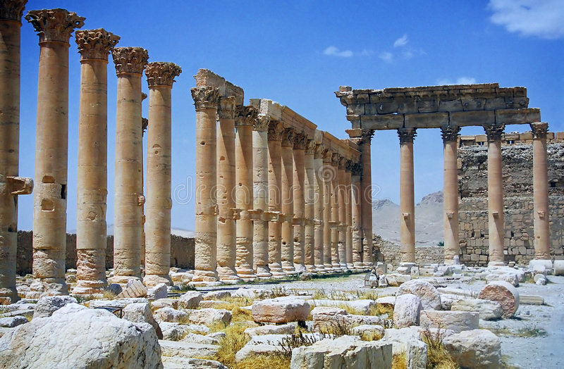 Ruïnes van oude stad Palmyra stock afbeelding