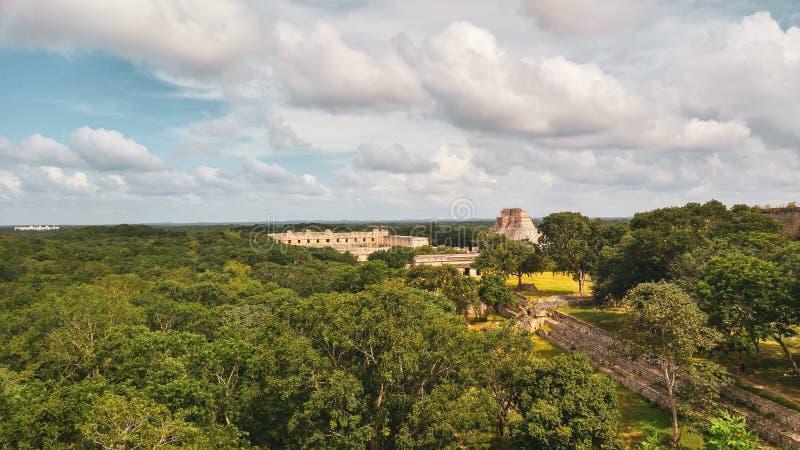 Ruïnes van oude stad van Uxmal stock foto's