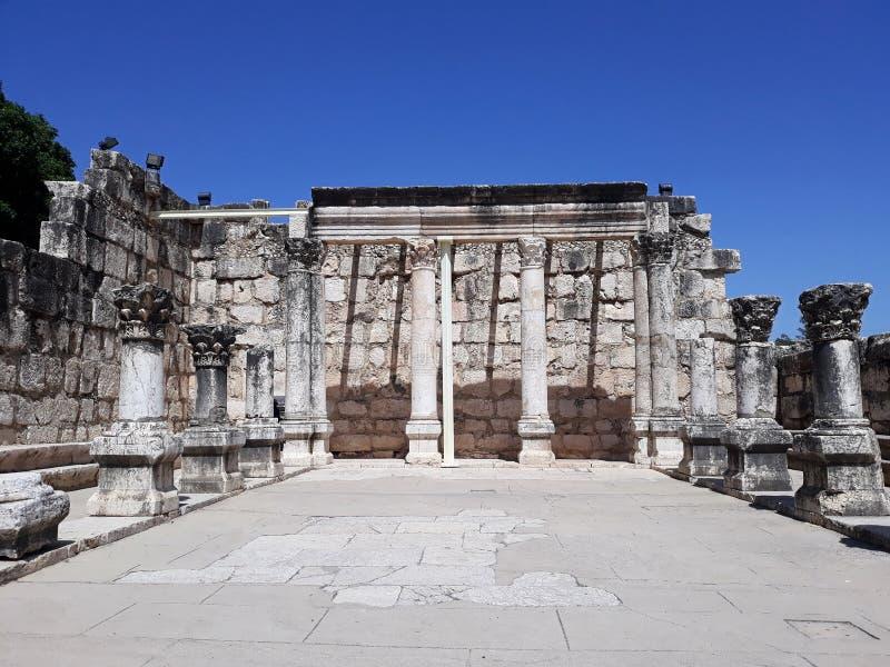 Ruïnes van oude synagoge in Capernaum, Israël stock afbeelding
