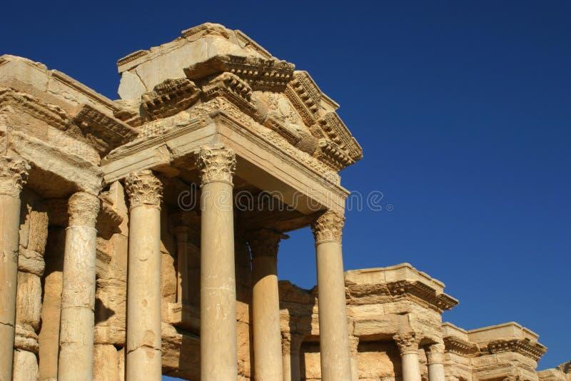 Ruïnes van Palmyra, Dak van het Oude Theater stock afbeelding