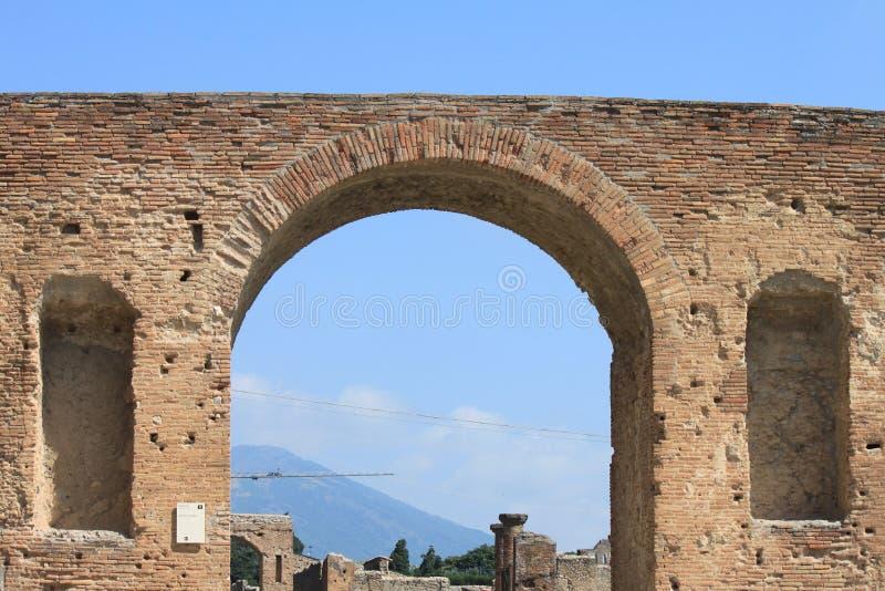 Ruïnes van Pompei De oude Roman stad in Italië stierf aan uitbarsting van de Vesuvius stock foto's