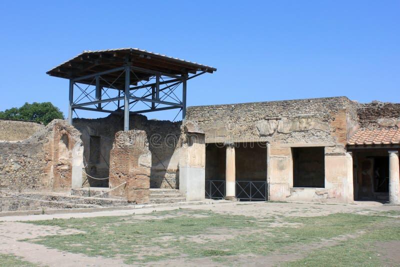 Ruïnes van Pompei De oude Roman stad in Italië stierf aan uitbarsting van de Vesuvius royalty-vrije stock foto's
