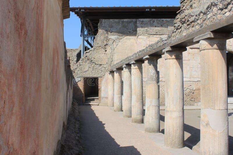 Ruïnes van Pompei De oude Roman stad in Italië stierf aan uitbarsting van de Vesuvius royalty-vrije stock foto