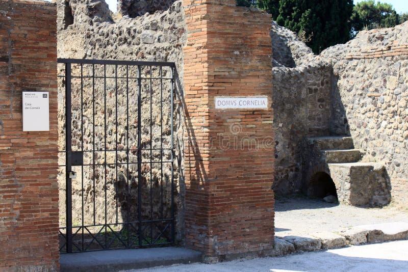 Ruïnes van Pompei De oude Roman stad in Italië stierf aan uitbarsting van de Vesuvius stock foto