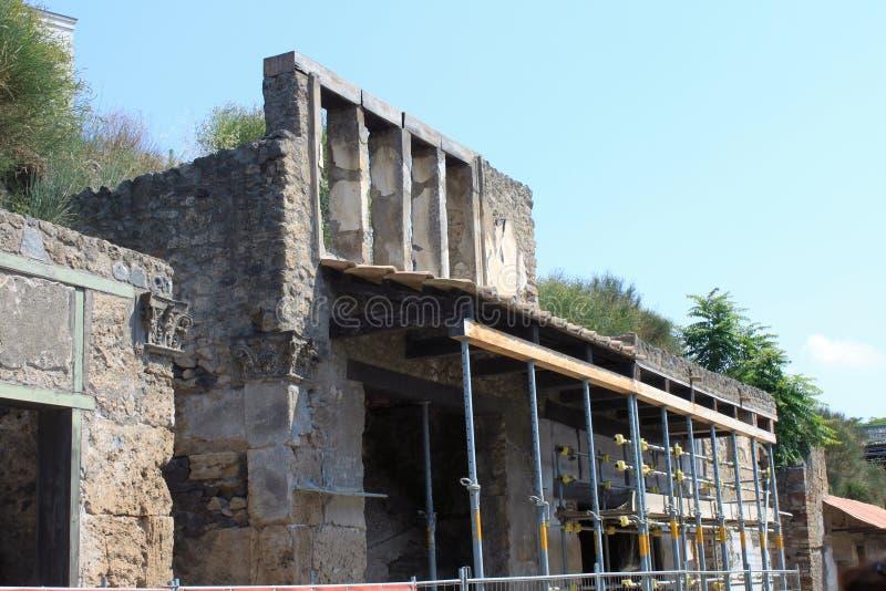 Ruïnes van Pompei De oude Roman stad in Italië stierf aan uitbarsting van de Vesuvius royalty-vrije stock afbeeldingen