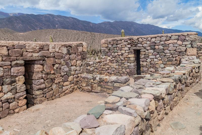 Ruïnes van Pucara dichtbij Tilcara, Argentinië stock foto's
