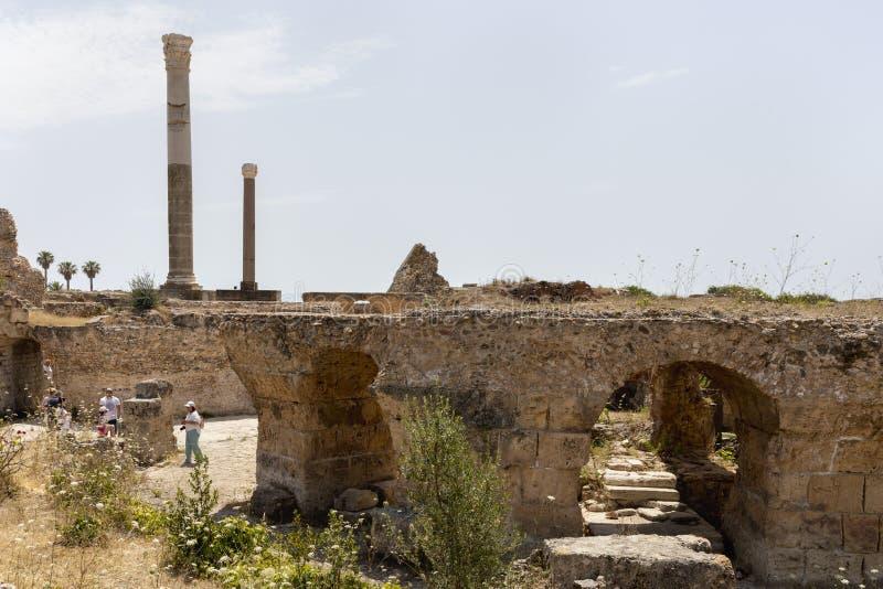 Ruïnes van Roman Baths van Carthago, Tunesië stock foto's