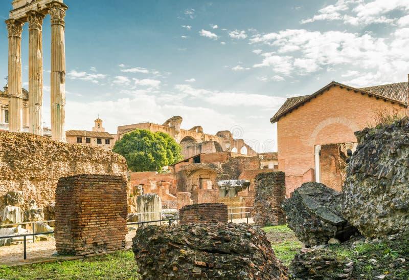 Ruïnes van Roman Forum, Rome stock afbeelding