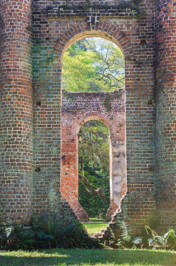 Ruïnes van Sheldon Church Yemassee South Carolina stock fotografie