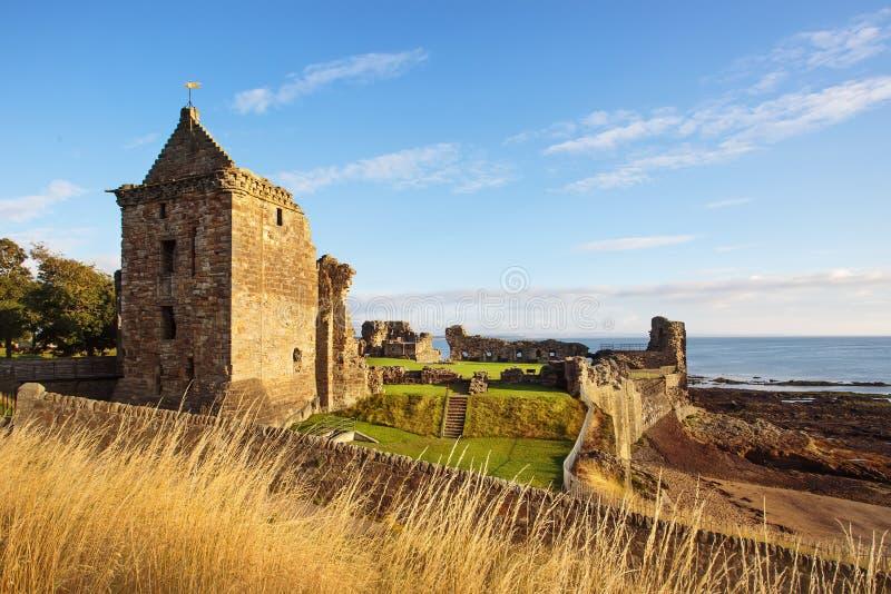 Ruïnes van St Andrews Castle, Fife, Schotland stock foto's