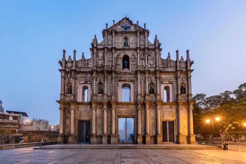 Ruïnes van St Paul, het oriëntatiepunt van Macao, in 2005, werden zij officieel vermeld als deel van het Historische Centrum van  royalty-vrije stock fotografie
