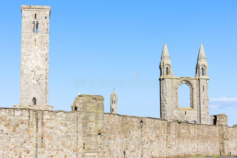 ruïnes van St Rule& x27; s kerk en kathedraal, St Andrews, Fife, Scot royalty-vrije stock afbeelding