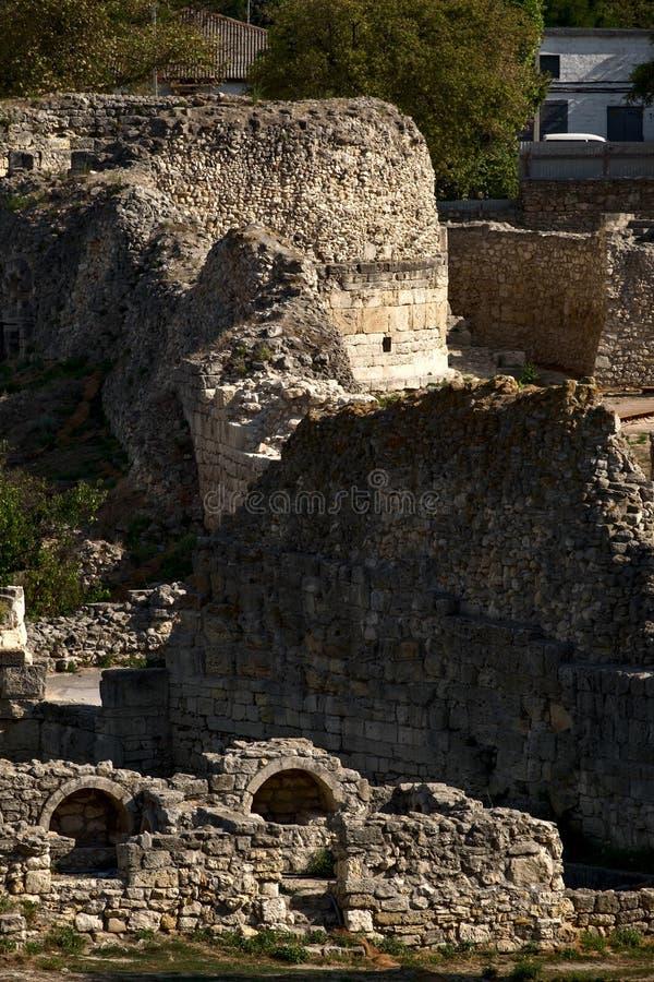 Ruïnes van Tauric Chersonese in Sebastopol stock afbeeldingen