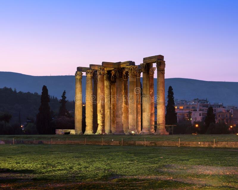 Ruïnes van Tempel van Olympian Zeus in de Ochtend, Athene, Griekenland stock fotografie