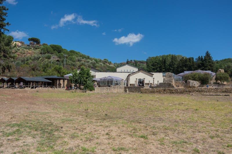 Ruïnes van Villa Romana del Casale, Sicilië stock foto's