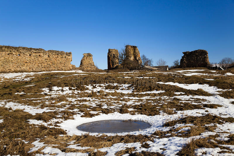 Ruïnes, Wit-Rusland De winter stock foto's
