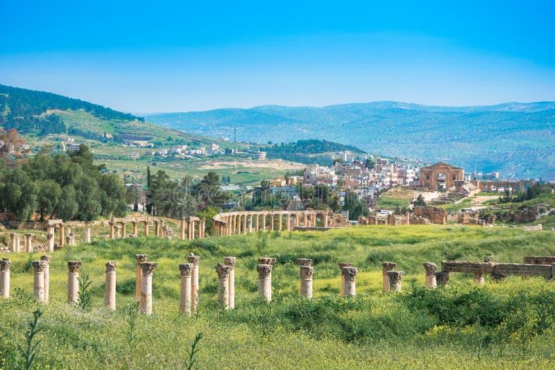 Ru?nas antigas e romanas de Jerash Gerasa, Jord?nia imagem de stock