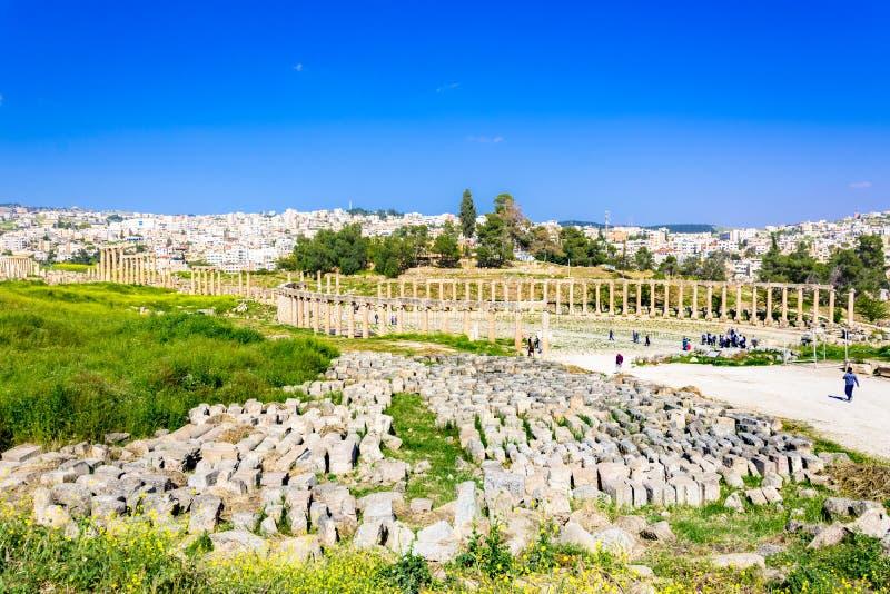 Ru?nas antigas e romanas de Jerash Gerasa, Jord?nia imagem de stock royalty free