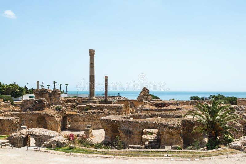 Ru?nes van de Baden van Antoninus Carthago, Tunesi? stock fotografie