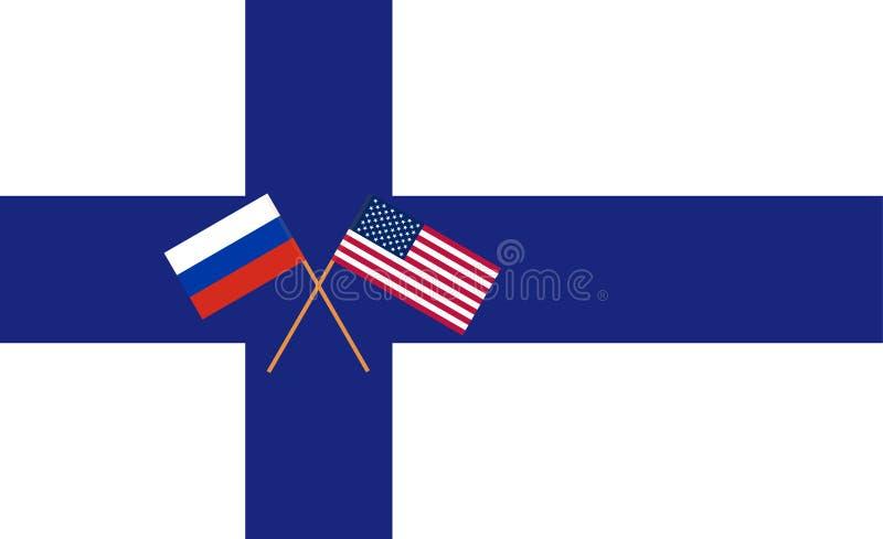RU-US negocjacja w Helsinki Rosjanin i usa zaznaczamy na flaga Finlandia wektor royalty ilustracja