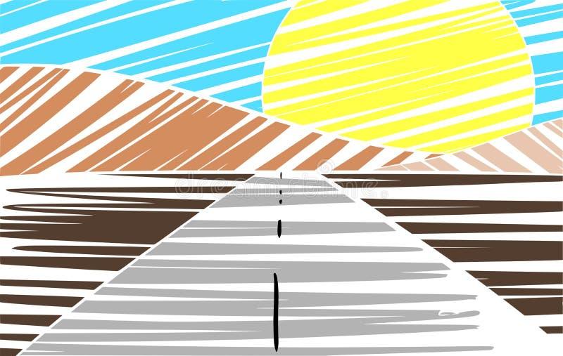 Rua Árvore-alinhada colorida no por do sol ilustração stock
