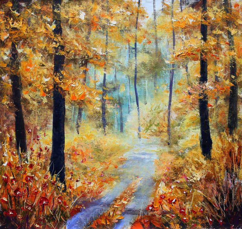 A rua é pontilhada com folhas amarelas Árvores no outono em um fundo do céu azul com nuvens ilustração stock