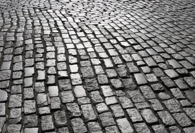 Rua 2 do Cobblestone de Manhattan fotografia de stock